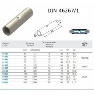 Łącznik przewodów na styk miedziany cynowany 10 mm2 do zaciskania din 46267/1 op. 100...