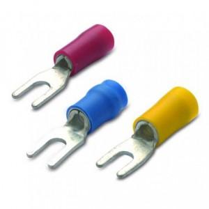 Końcówka kablowa izolowana widełkowa z anywibracyjną tulejką miedzianą 6/4 pvc żółta...