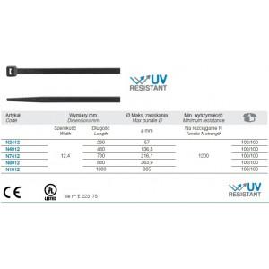 Opaska zaciskowa kablowa 730x12,4 mm poliamidowa pa 6.6 kolor czarny op. 100 szt. BM...