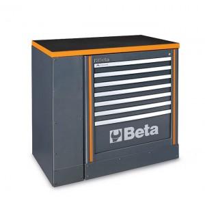 Zestaw system rsc55 szafki z 7 szufladami i blatu roboczego 1 m ral7016 szary z pomarańczowym wykończeniem