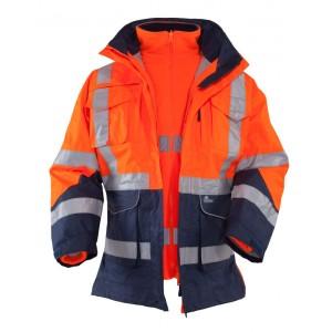 Kurtka ostrzegawcza o intensywnej widzialności 100% poliestru ocieplana pomarańczowo-granatowa wraz z polarem w kolorze fluore