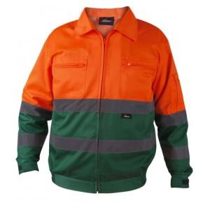 Kurtka ostrzegawcza o intensywnej widzialności wykonana z poliestru i bawełny pomarańczowo-zielona vwtc06-b rozmiar l
