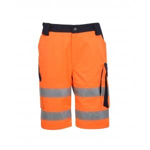 Spodnie robocze krótkie bermudy ostrzegawcze o intensywnej widzialności płótno 60% bawełna 40% poliester pomarańczowo-gran