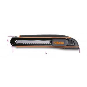 Nóż z ostrzem chowanym 18mm z 6 ostrzami