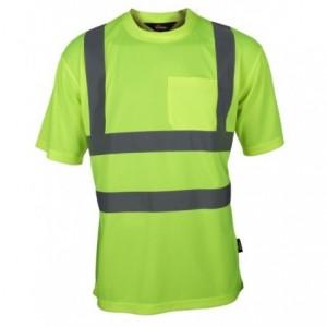 Koszulka t-shirt ostrz.z pasami naram.żółty l Beta VWTS03-BY/L