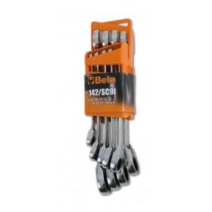 Komplet kluczy płasko-oczkowych z dwukierunkowym mechanizmem zapadkowym 142 8-19 mm 9...