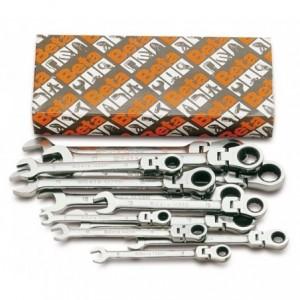 Komplet kluczy płasko-oczkowych z dwukierunkowym mechanizmem zapadkowym przegubowych...